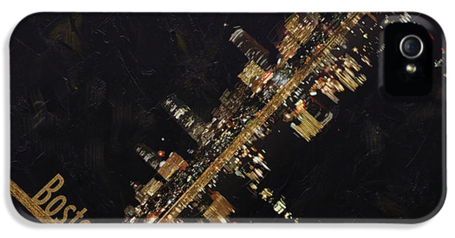 Boston City IPhone 5 Case featuring the painting Boston City Skyline by Corporate Art Task Force