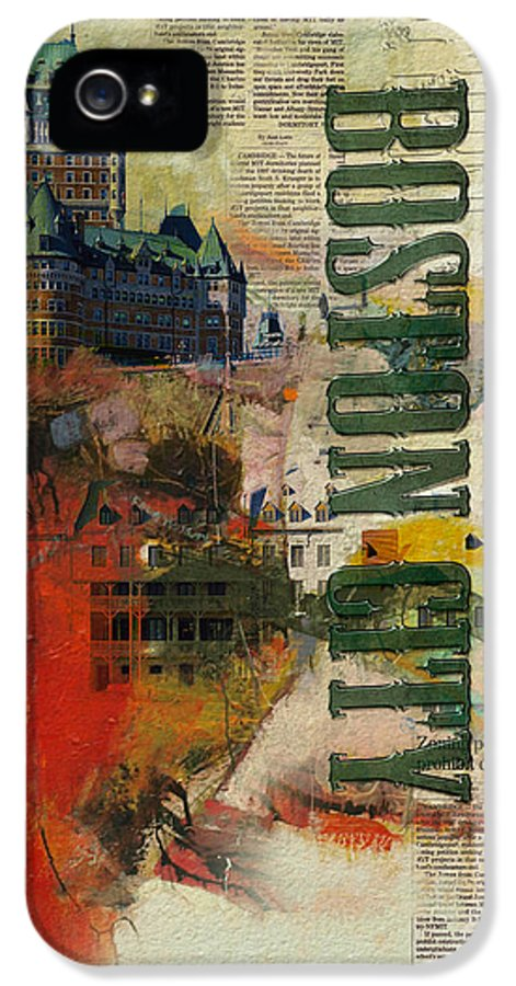 Boston City IPhone 5 Case featuring the painting Boston Collage by Corporate Art Task Force