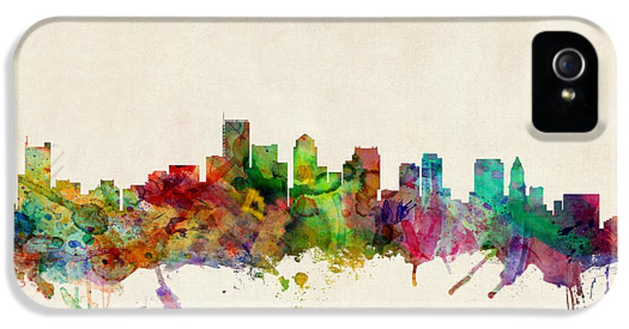 Watercolour IPhone 5 Case featuring the digital art Boston Massachusetts Skyline by Michael Tompsett