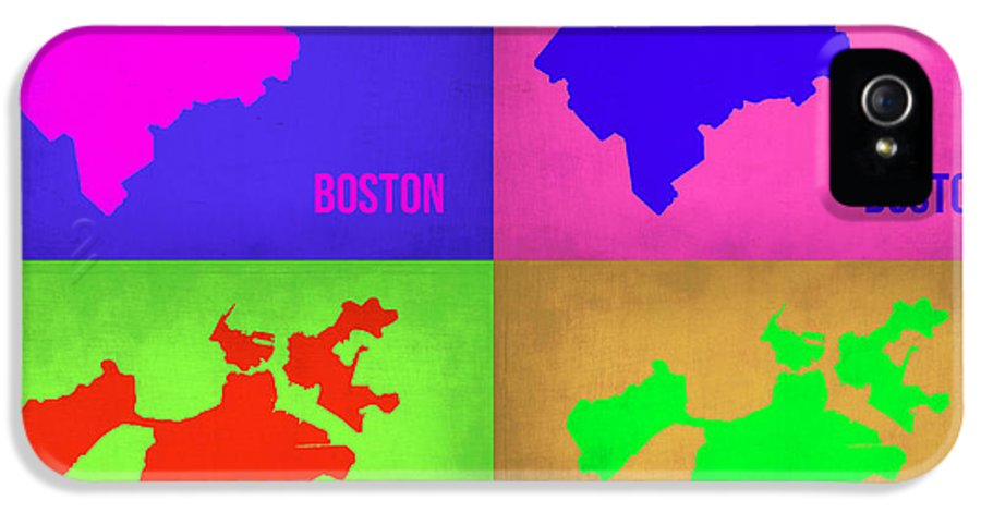 Boston Map IPhone 5 Case featuring the painting Boston Pop Art Map 1 by Naxart Studio
