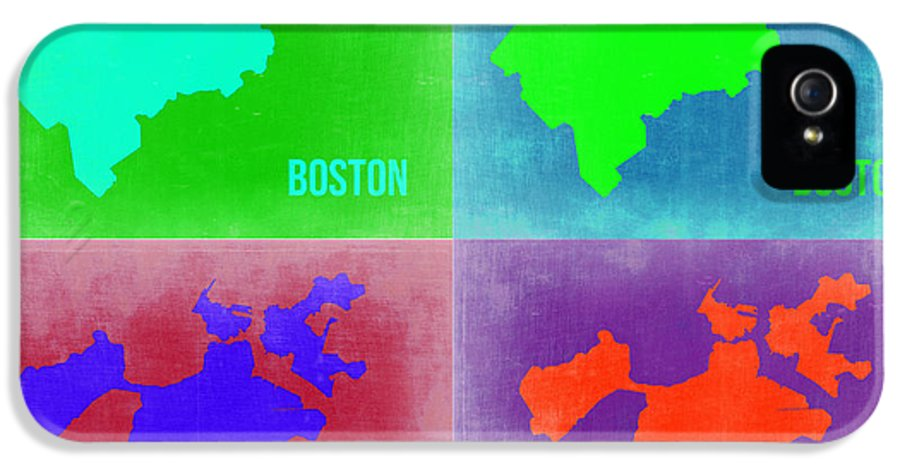 Boston Map IPhone 5 Case featuring the painting Boston Pop Art Map 2 by Naxart Studio