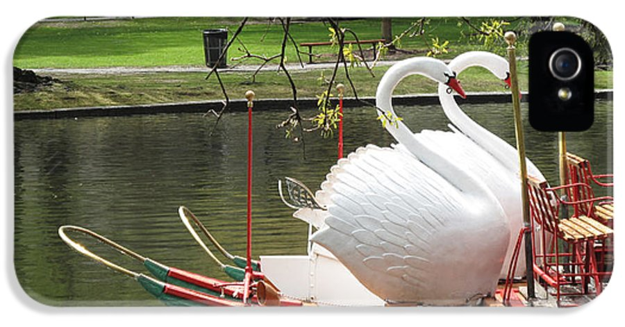 Landscape IPhone 5 Case featuring the photograph Boston Swan Boats by Barbara McDevitt