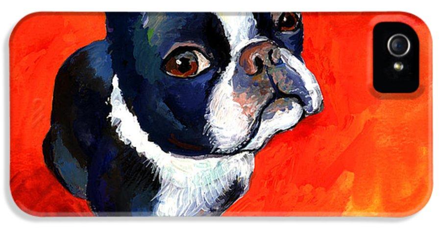 Boston Terrier Prints IPhone 5 Case featuring the painting Boston Terrier Dog Painting Prints by Svetlana Novikova