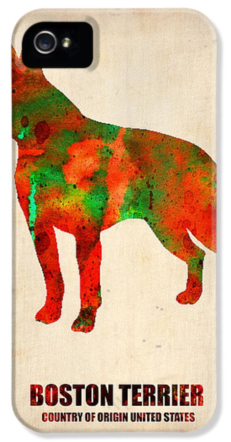 Boston Terrier IPhone 5 Case featuring the painting Boston Terrier Poster by Naxart Studio