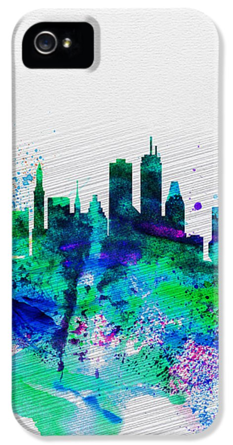 Boston IPhone 5 Case featuring the painting Boston Watercolor Skyline by Naxart Studio