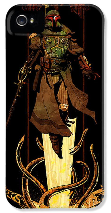 Star Wars IPhone 5 Case featuring the digital art Bounty Hunter Rising by Brian Kesinger