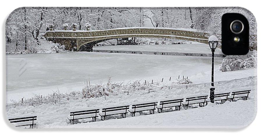 Bow Bridge IPhone 5 Case featuring the photograph Bow Bridge Central Park Winter Wonderland by Susan Candelario