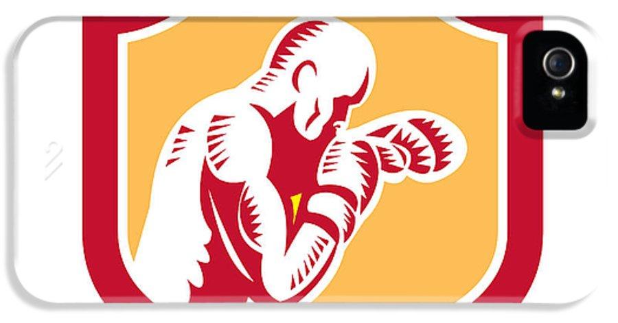 Boxer IPhone 5 Case featuring the digital art Boxer Boxing Jabbing Punch Side Shield Retro by Aloysius Patrimonio