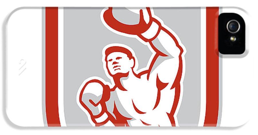 Boxer IPhone 5 Case featuring the digital art Boxer Boxing Punching Jabbing Circle Retro by Aloysius Patrimonio