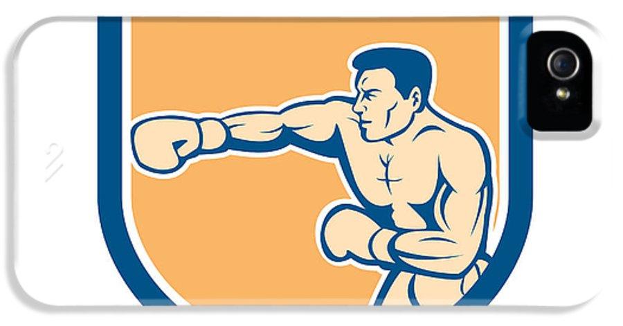 Boxer IPhone 5 Case featuring the digital art Boxer Boxing Punching Shield Cartoon by Aloysius Patrimonio