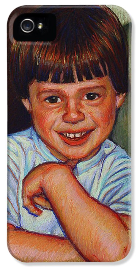 Portraits IPhone 5 Case featuring the pastel Boy In Blue Shirt by Kenneth Cobb