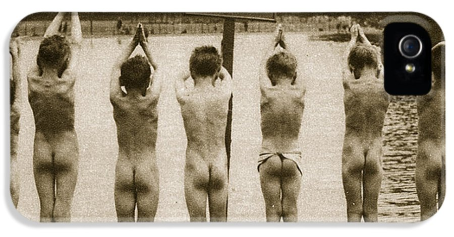 London IPhone 5 Case featuring the photograph Boys Bathing In The Park Clapham by English Photographer