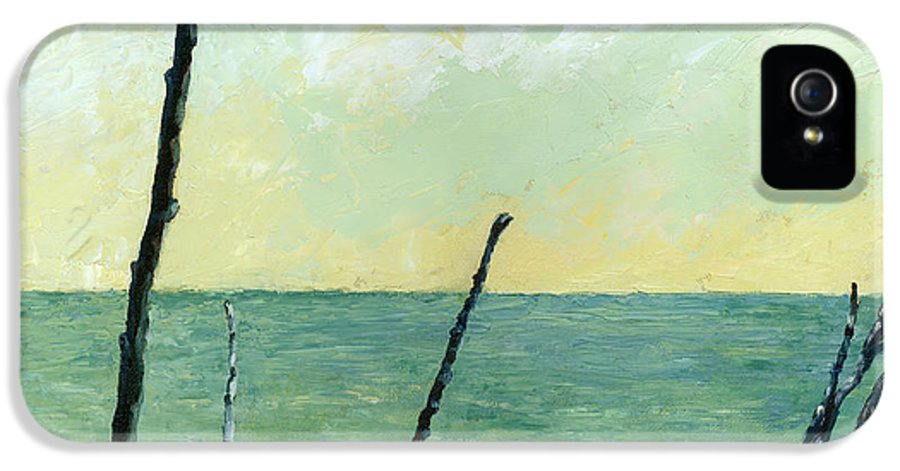 Beach IPhone 5 Case featuring the painting Branches On The Beach - Oil by Michelle Calkins