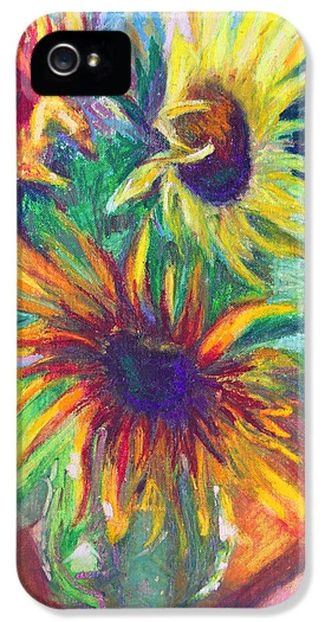 Sunflower IPhone 5 Case featuring the painting Brandy's Sunflowers - Still Life On Windowsill by Talya Johnson