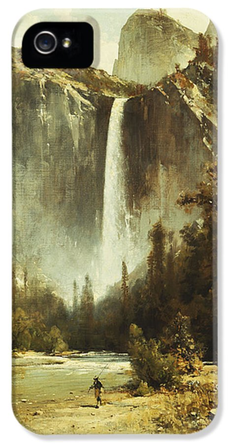 19th Century IPhone 5 Case featuring the painting Bridal Falls by Thomas Hill