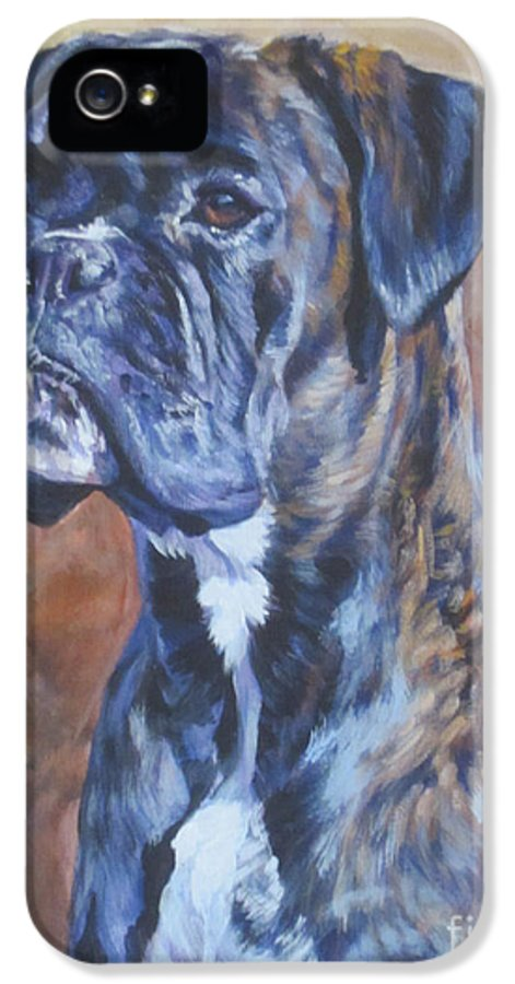 Boxer IPhone 5 Case featuring the painting Brindle Boxer by Lee Ann Shepard