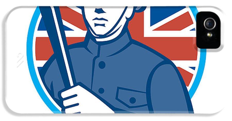 British IPhone 5 / 5s Case featuring the digital art British Bobby Policeman Truncheon Flag by Aloysius Patrimonio