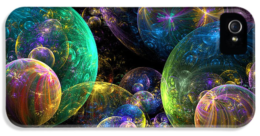 Abstract IPhone 5 Case featuring the digital art Bubbles Upon Bubbles by Peggi Wolfe