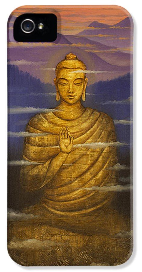 Buddha IPhone 5 Case featuring the painting Buddha. Passing Clouds by Vrindavan Das