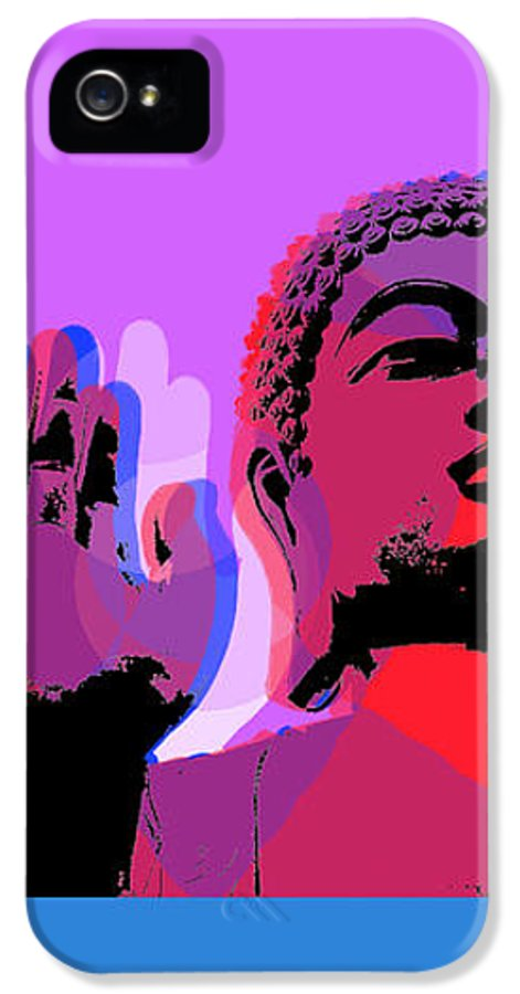 Buddha IPhone 5 Case featuring the digital art Buddha Pop Art - 4 Panels by Jean luc Comperat