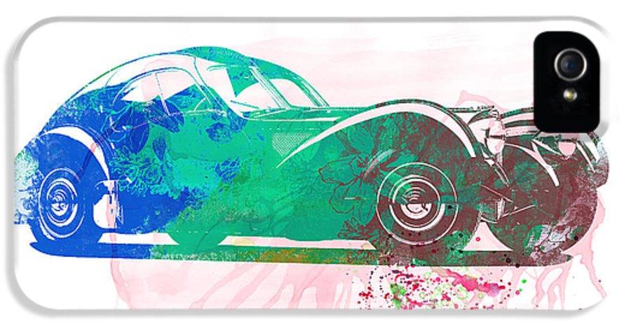 Bugatti 57 S Atlantic IPhone 5 Case featuring the painting Bugatti Atlantic Watercolor 1 by Naxart Studio