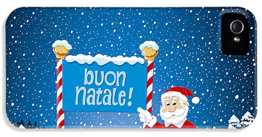 Natale IPhone 5 Case featuring the drawing Buon Natale Sign Santa Claus Winter Landscape by Frank Ramspott
