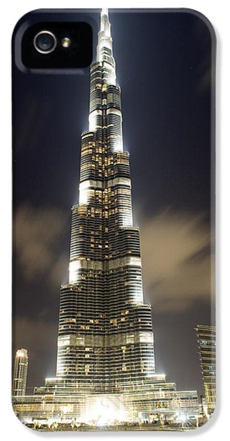 Dubai IPhone 5 Case featuring the photograph Burj Khalifa Tower In Dubai At Night by Nicolae Feraru