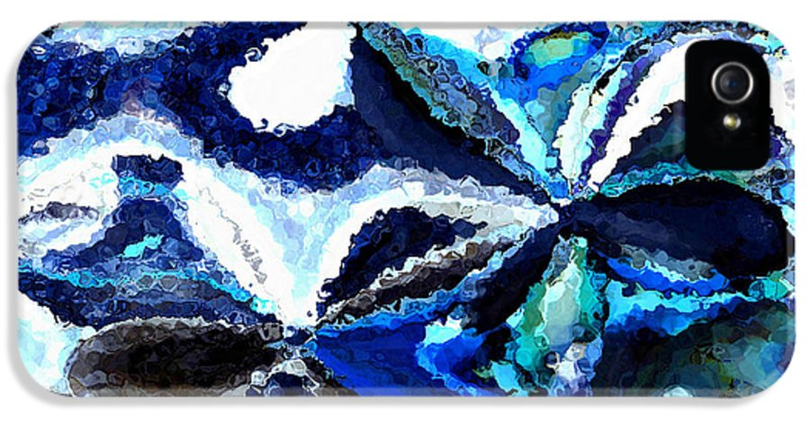 Abstract IPhone 5 Case featuring the photograph Bursts Of Blue And White - Abstract Art by Carol Groenen