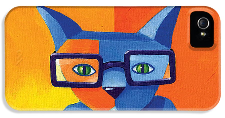 Cat IPhone 5 Case featuring the painting Business Cat by Mike Lawrence