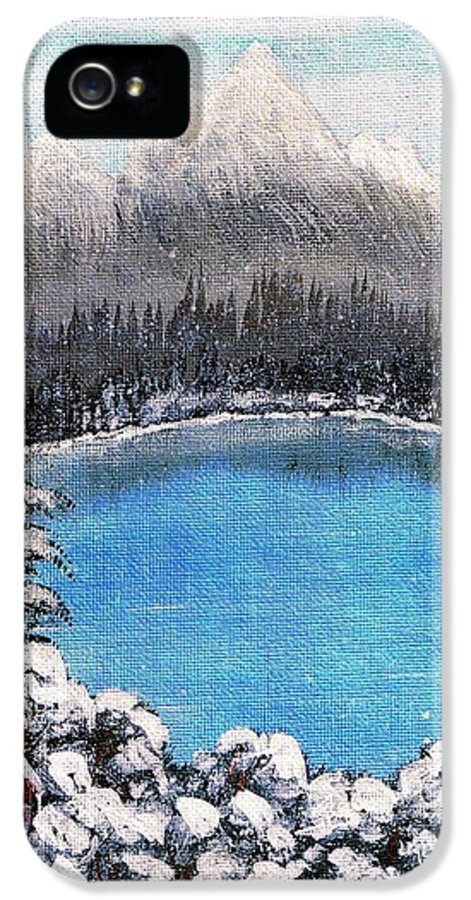 Cabin By The Lake IPhone 5 Case featuring the painting Cabin By The Lake - Winter by Barbara Griffin