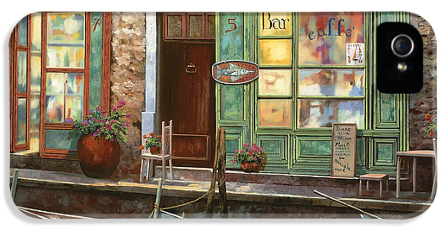 Venice IPhone 5 Case featuring the painting caffe Carlotta by Guido Borelli