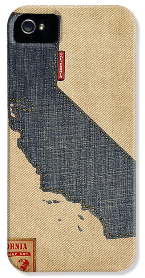 United States Map IPhone 5 Case featuring the digital art California Map Denim Jeans Style by Michael Tompsett