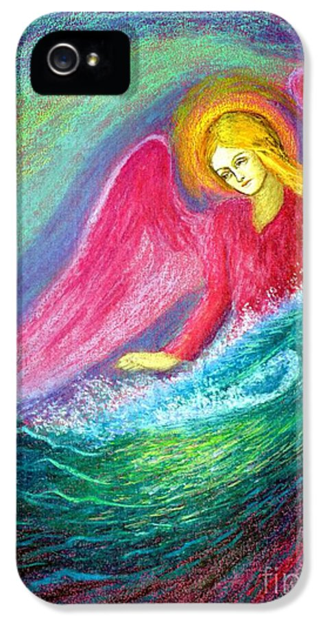 Angel IPhone 5 Case featuring the painting Calming Angel by Jane Small