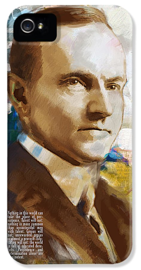 Calvin Cooldige IPhone 5 Case featuring the painting Calvin Coolidge by Corporate Art Task Force