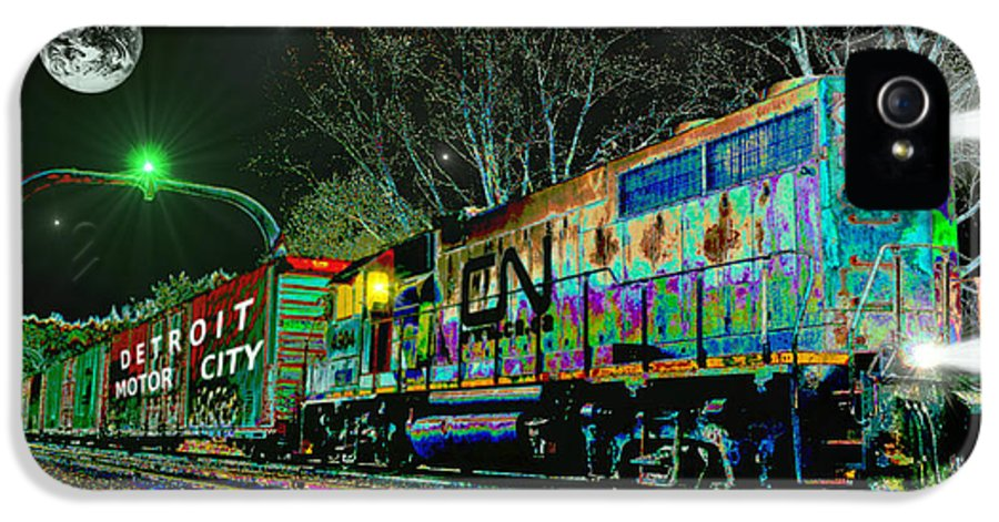 Train IPhone 5 Case featuring the digital art Canadian National Railroad by Michael Rucker