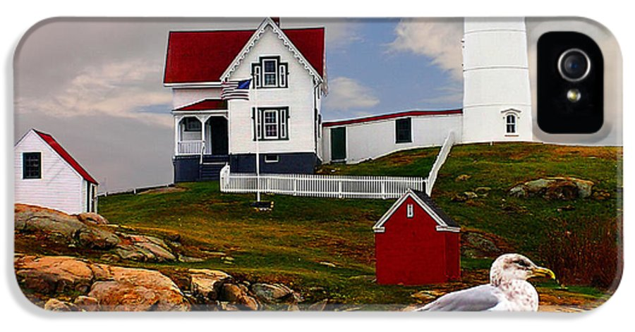 America IPhone 5 Case featuring the photograph Cape Neddick Lighthouse Maine by Nick Zelinsky