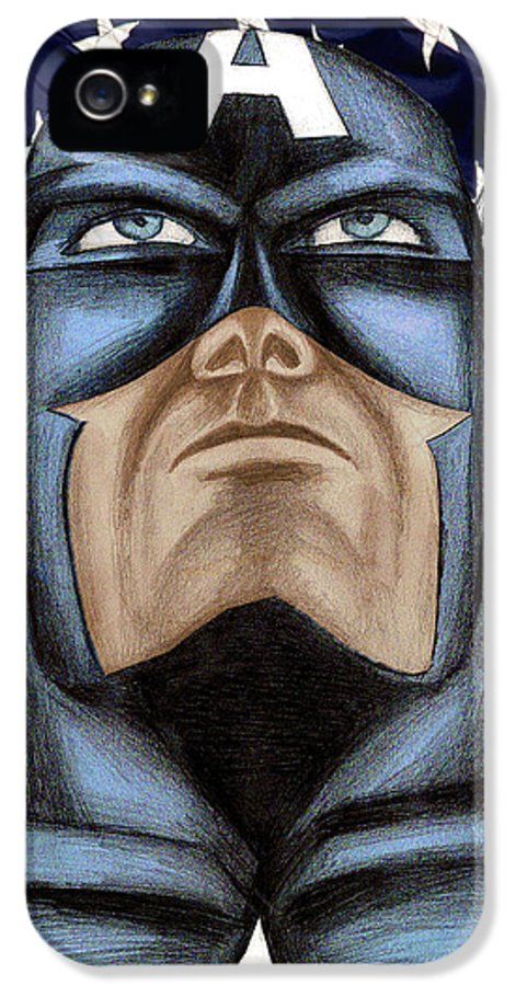 Captain America IPhone 5 Case featuring the drawing Captain America by Michael Mestas