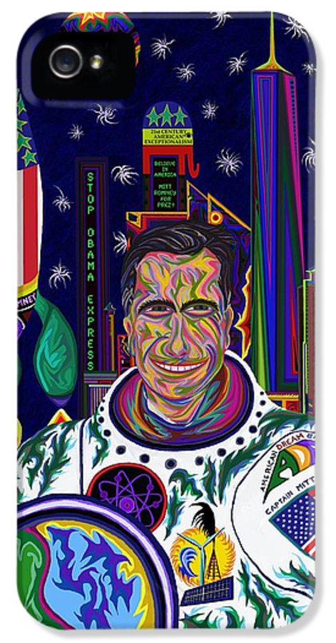 Science Fiction IPhone 5 Case featuring the painting Captain Mitt Romney - American Dream Warrior by Robert SORENSEN