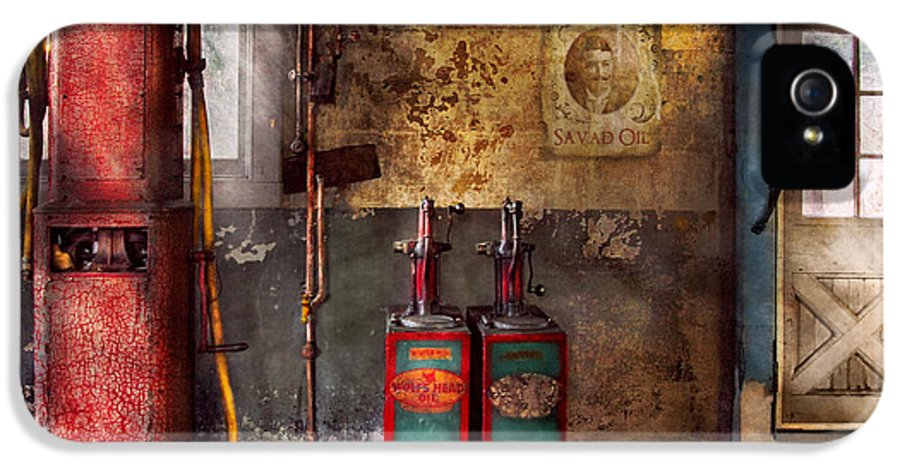 Savad IPhone 5 Case featuring the photograph Car - Station - Gas Pumps by Mike Savad