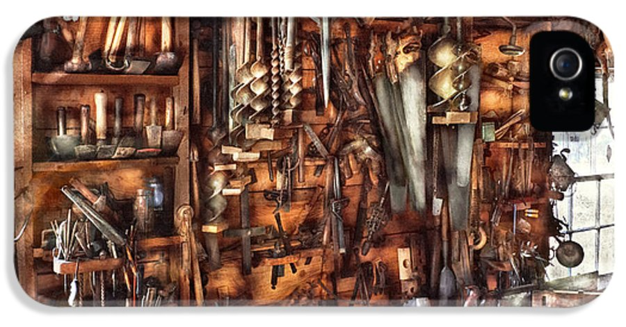 Suburbanscenes IPhone 5 Case featuring the photograph Carpenter - That's A Lot Of Tools by Mike Savad