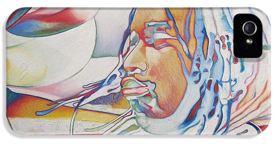Carter Beauford IPhone 5 Case featuring the drawing Carter Beauford Colorful Full Band Series by Joshua Morton