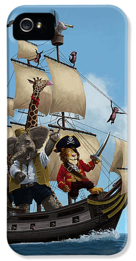 Animals IPhone 5 Case featuring the painting Cartoon Animal Pirate Ship by Martin Davey