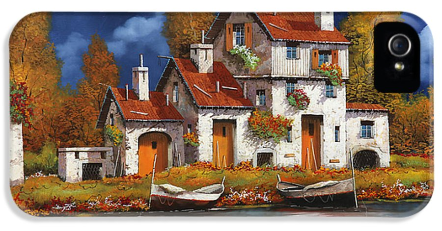 White House IPhone 5 Case featuring the painting Case Bianche Sul Fiume by Guido Borelli