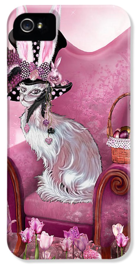 Cat IPhone 5 Case featuring the mixed media Cat In Mad Hatter Hat by Carol Cavalaris