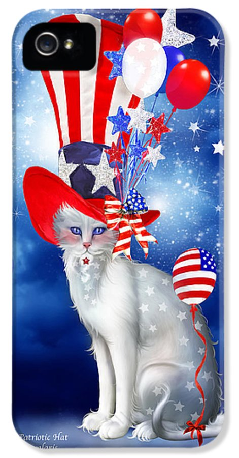 Carol Cavalaris IPhone 5 Case featuring the mixed media Cat In Patriotic Hat by Carol Cavalaris