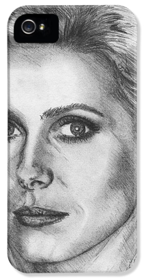 Mccombie IPhone 5 Case featuring the drawing Catherine Deneuve In 1976 by J McCombie