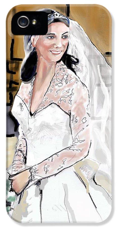 Duchess Of Cambridge IPhone 5 Case featuring the drawing Catherine Duchess Of Cambridge Print by Eric Schiabor