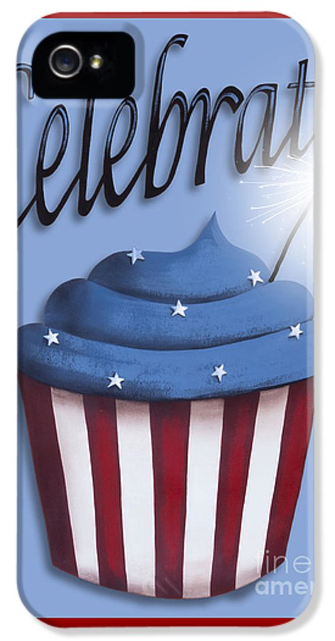 Art IPhone 5 / 5s Case featuring the painting Celebrate The 4th / Blue by Catherine Holman