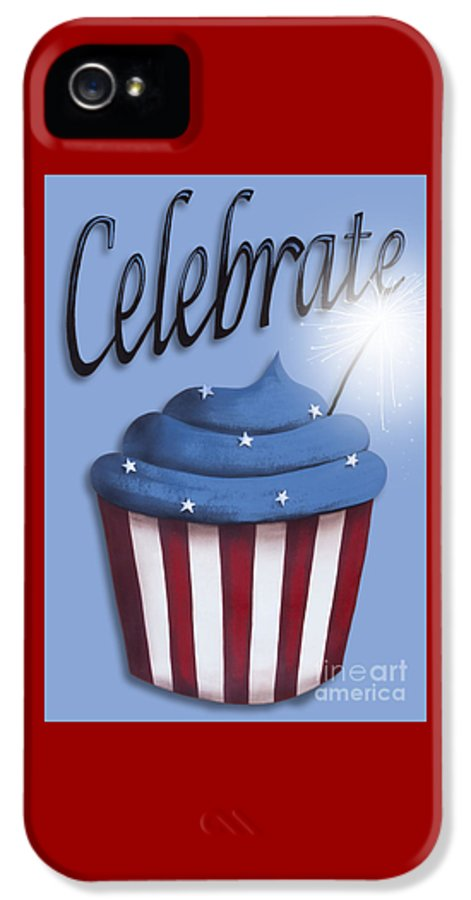 Art IPhone 5 Case featuring the painting Celebrate The 4th / Blue by Catherine Holman