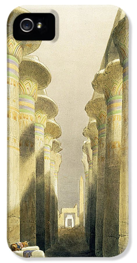 Ruins IPhone 5 / 5s Case featuring the painting Central Avenue Of The Great Hall Of Columns by David Roberts